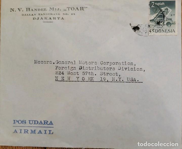 O) 1956 INDONESIA, POS UDARA AIRMAIL, SUMATRA, N. V. HANDEL MIJ TOAR, CIRCULAR A EE. UU. (Sellos - Extranjero - Asia - Indonesia)