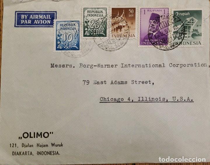 O) 1958 INDONESIA, PRES.SUKARNO, NUMERALS, MONTAÑA SUMATRA, MEZQUITA MEDAN SUMATRA, OLIMO, CORREO AÉ (Sellos - Extranjero - Asia - Indonesia)