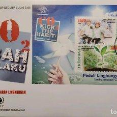 Sellos: O) 2008 INDONESIA, PROGRAMA DE LAS NACIONES UNIDAS PARA EL MEDIO AMBIENTE, DIOXIDO DE CARBONO CO2, C. Lote 256074605