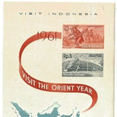 Sellos: REPUBLIK INDONESIA 1961 - VISIT - HOJA MÁXIMA. Lote 261286655