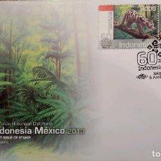 Sellos: O) 2013 INDONESIA, EMISIÓN CONJUNTA MÉXICO, RELACIONES DIPLOMÁTICAS, LEOPARDO NUBLADO, JAGUAR MEXICA. Lote 267420274
