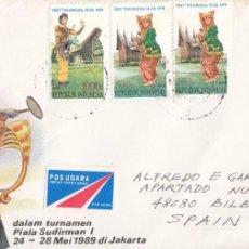 Sellos: CORREO AEREO: INDONESIA 1989. Lote 277211158