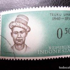 Sellos: INDONESIA, 1961, HEROES NACIONALES, TEUKU UMAR, YVERT 257. Lote 287250508