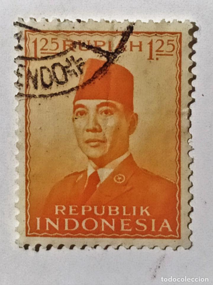 SELLO DE INDONESIA 1,25 R - 1953 - SUKARNO - USADO SIN SEÑAL DE FIJASELLOS (Sellos - Extranjero - Asia - Indonesia)