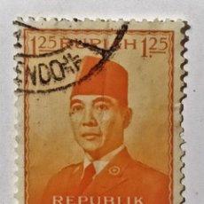 Sellos: SELLO DE INDONESIA 1,25 R - 1953 - SUKARNO - USADO SIN SEÑAL DE FIJASELLOS. Lote 287676308