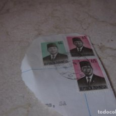 Sellos: TRES SELLOS USADOS INDONESIA - PRESIDENTE SUHARTO. Lote 289773763