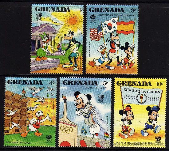 GRENADA - PRECIOSA SERIE DE 5 SELLOS - WALT DISNEY - OLIMPIADA SEUL 1988 (Sellos - Temáticas - Infantil)