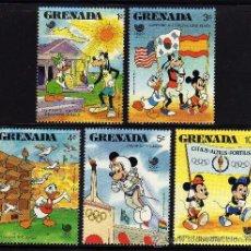 Sellos: GRENADA - PRECIOSA SERIE DE 5 SELLOS - WALT DISNEY - OLIMPIADA SEUL 1988. Lote 26309986