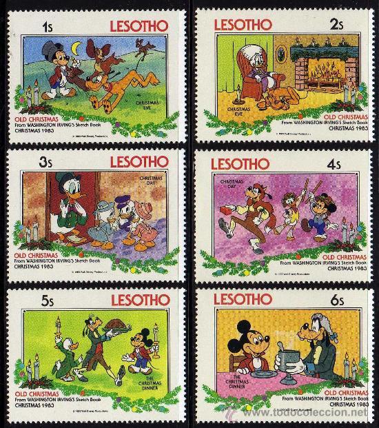 LESOTHO - PRECIOSA SERIE DE 6 SELLOS - WALT DISNEY - NAVIDAD 1983 (Sellos - Temáticas - Infantil)
