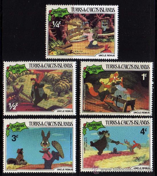 TURKS & CAICOS ISLANDS - PRECIOSA SERIE DE 5 SELLOS - WALT DISNEY - NAVIDAD 1981 (Sellos - Temáticas - Infantil)