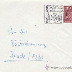Sellos: ALEMANIA, HAS Y SWINEGEL, CUENTO DE LOS HERMANOS GRIMM, MATASELLO DE 7-10-1958. Lote 30274369