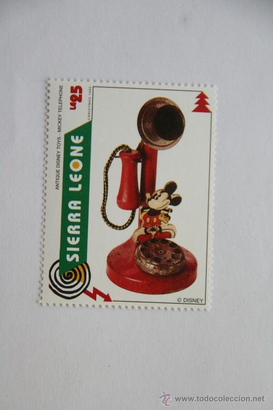 SELLO NAVIDAD 1995 ANTIGUO JUGUETE DE DISNEY MICKEY MOUSE TELEFONO (Sellos - Temáticas - Infantil)