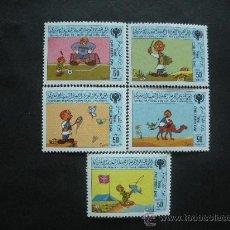 Sellos: LIBIA 1986 IVERT 1638/42 *** JUEGOS INFANTILES. Lote 36390078