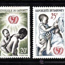 Sellos: DAHOMEY 214/15** - AÑO 1964 - 18º ANIVERSARIO DE UNICEF. Lote 38694985