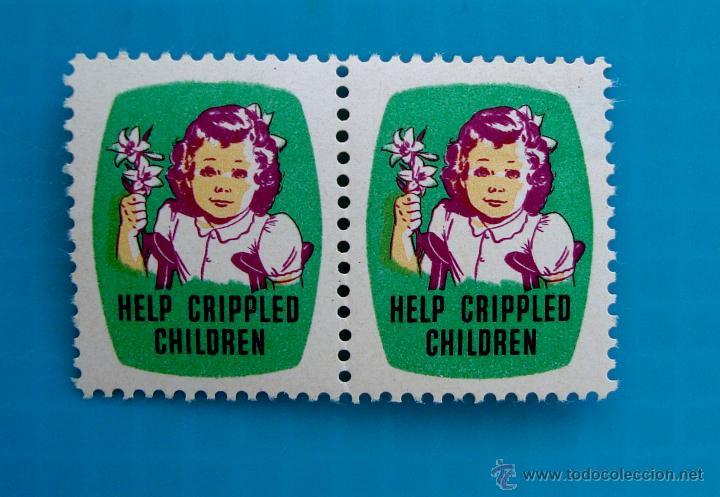 SELLO VIÑETA DE AYUDA A NIÑOS TULLIDOS HELP CRIPPLED CHILDREN AÑOS 1948 1949 (Sellos - Temáticas - Infantil)