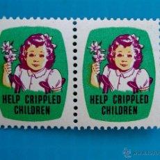 Sellos: SELLO VIÑETA DE AYUDA A NIÑOS TULLIDOS HELP CRIPPLED CHILDREN AÑOS 1948 1949. Lote 45713919