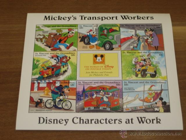 LAMINA DE SELLOS DISNEY MICKEY´S TRANSPORT WORKERS - ST. VINCENT AND THE GRENADINES (Sellos - Temáticas - Infantil)