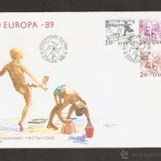 Sellos: SUECIA .1989. FDC. EUROPA 89 .1522/24. JUEGOS DE NIÑOS. Lote 52762500