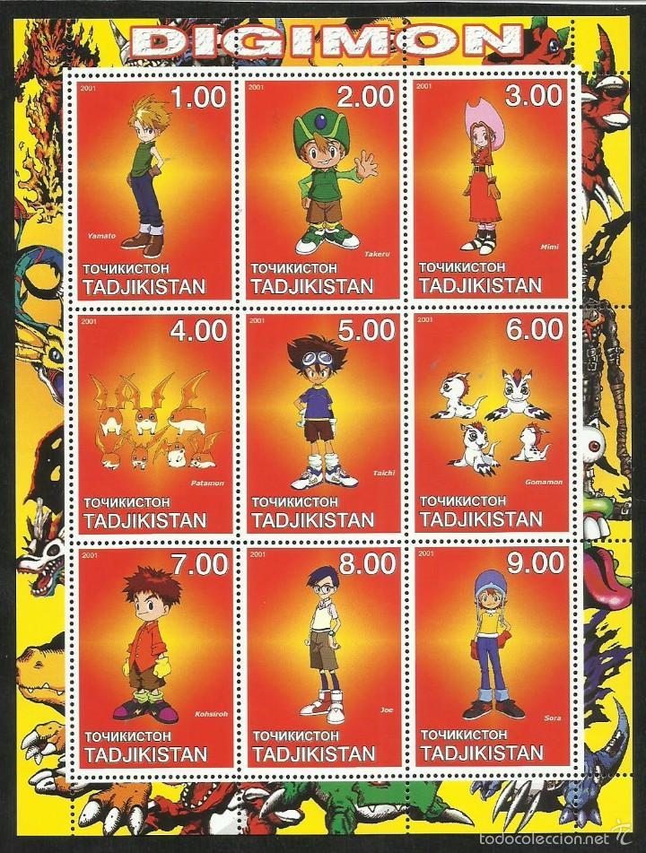 TADJIKISTAN 2001 HOJA BLOQUE SELLOS DIGIMON- PATAMON- GOMAMON- TAICHI- MIMI- YAMATO- TAKERU- SORA (Sellos - Temáticas - Infantil)