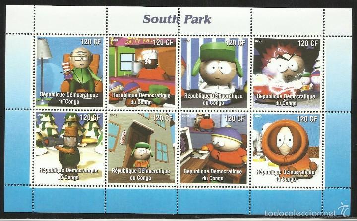 CONGO 2003 HOJA BLOQUE SELLOS SERIE TELEVISIVA DE ANIMACION SOUTH PARK (Sellos - Temáticas - Infantil)
