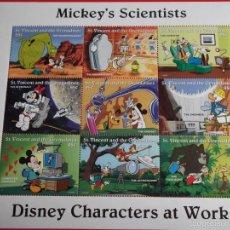 Sellos: SAN VICENTE. MICKEY'S SCIENTISTS: 8 SELLOS + VIÑETA. 1996. WALT DISNEY. SELLOS NUEVOS Y NUMERACIÓN . Lote 60488955