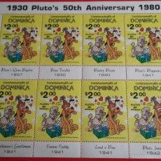 Sellos: DOMINICA. 671 50 ANIVERSARIO DE PLUTO. MINIHOJA DE 8 SELLOS. 1981. WALT DISNEY. SELLOS NUEVOS Y NUME. Lote 60505163