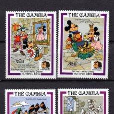 Timbres: GAMBIA 555/58** - AÑO 1985 - DISNEY - BICENTENARIO DEL NACIMIENTO DE LOS HERMANOS GRIMM. Lote 89881800
