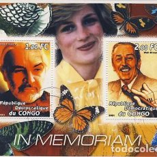Timbres: CONGO 2001 HOJA BLOQUE SELLOS EN MEMORIA DE LA PRINCESA DIANA - SEAN CONNERY - WALT DISNEY . Lote 97470395