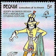 Sellos - Bequia (St.Vincent) 1989 Scott 272 Sello ** Walt Disney Centenario Revolucion Francesa Goofy - 98891095
