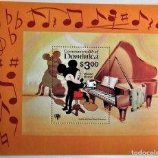 Sellos: DOMINICA. HB 59 MICKEY MOUSE TOCANDO EL PIANO. 1979. SELLOS NUEVOS Y NUMERACIÓN YVERT.. Lote 105397152