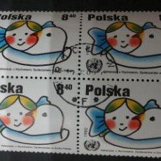 Sellos: SELLOS(BLOQUE 4V) DE POLONIA (POLSKA) MATASELLADOS. 1980. NIÑO. PALOMA DE LA PAZ. DERECHOS.. Lote 105557174