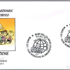 Sellos: MATASELLOS SALON DEL SELLO - SNOOPY Y CHARLIE BROWN. MILANO, ITALIA, 2011. Lote 111991323