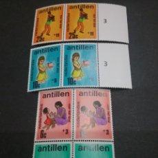 Sellos - Sellos de Antillas Holandesas nuevos. 1970. Infancia. Niños. Madre. Juegos. Deporte. Cerdito. Hucha. - 117959222