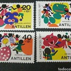 Sellos - Sellos de Antillas Holandesas nuevos. 1977. Infancia. Juegos. Lobo. Calabaza. Fiesta. Fantasma. - 127796766
