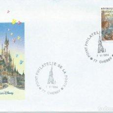 Sellos: 1994. FRANCIA/FRANCE. SOBRE ILUSTRADO CON MATASELLOS DE CHESSY - EURODISNEY. NIÑOS/CHILDREN.. Lote 132033086