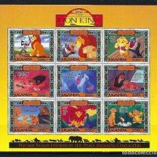 Sellos: UGANDA 1994 IVERT 1135/43 *** EL REY LEON - DIBUJOS DE WALT DISNEY (II). Lote 133722566