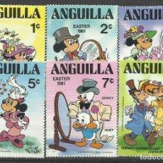 Sellos: ANGUILLA LOTE SE SELLOS TEMATICA PERSONAJES DISNEY- PASCUA 1981. Lote 135791578