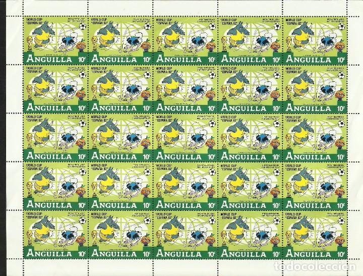 ANGUILLA 1982 HOJA BLOQUE MUNDIAL DE FUTBOL ESPAÑA 82- FIFA- BEDKNOBS AND BROOMSTICKS- DISNEY (Sellos - Temáticas - Infantil)
