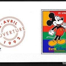 Sellos: ST. VINCENT 1992 DISNEY INAUGURACIÓN DE EURODISNEY PARIS. Lote 137567526