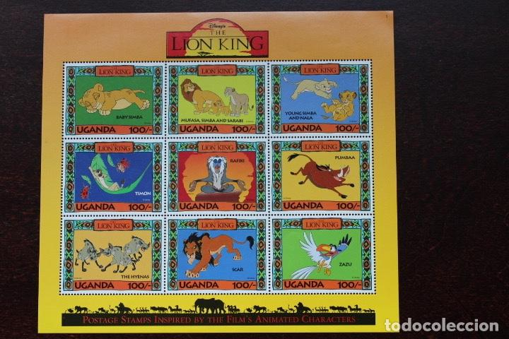 HOJA BLOQUE DE 9 SELLOS DE UGANDA. DISNEY - LION KING (REY LEÓN) (Sellos - Temáticas - Infantil)