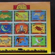Sellos: HOJA BLOQUE DE 9 SELLOS DE UGANDA. DISNEY - LION KING (REY LEÓN). Lote 203260648