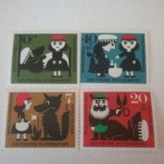 Timbres: SELLOS ALEMANIA, R. FEDERAL NUEVO/1960/CUENTOS INFANTILES/CAPERUCITA ROJA/LOBO/INFANCIA/TIJERAS/LOBO. Lote 158537770