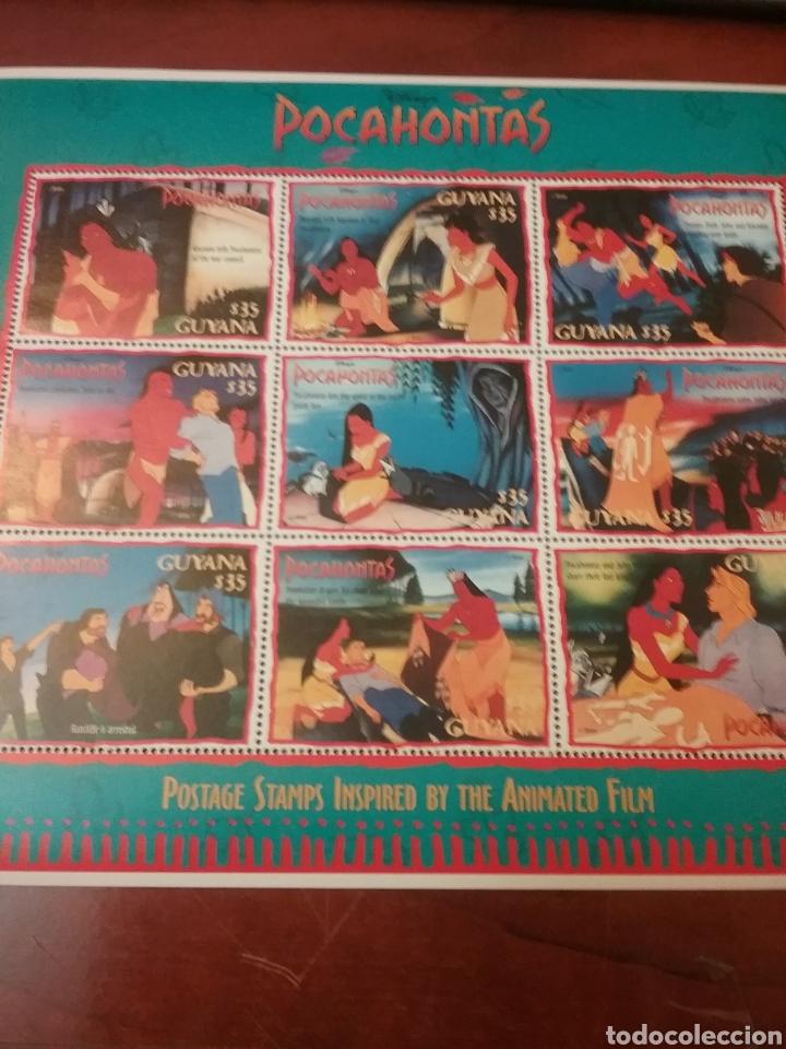 HB GUAYANA (GUYANA) NUEVA/1995/DENTADA/BARCO/ALDEA/DIBUJOS/ANIMACIÓN/FAUNA/NATURALEZA/POCAHONTAS (Sellos - Temáticas - Infantil)