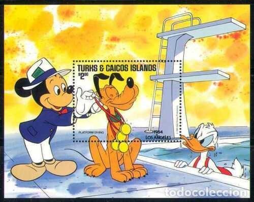 SELLOS TURKS & CAICOS ISLANDS 1984 DISNEY PLUTO (Sellos - Temáticas - Infantil)