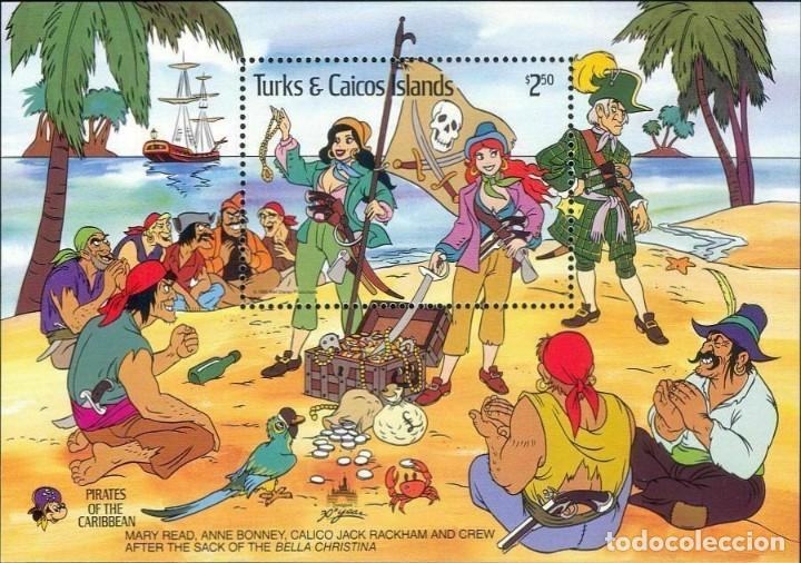 SELLOS TURKS & CAICOS ISLANDS 1985 DISNEY PIRATAS DEL CARIBE (Sellos - Temáticas - Infantil)