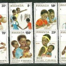 Sellos: RWANDA 1981 IVERT 984/91 *** CIUDAD DE LOS NIÑOS S.O.S. EN KIGALI - INFANTIL. Lote 200550182