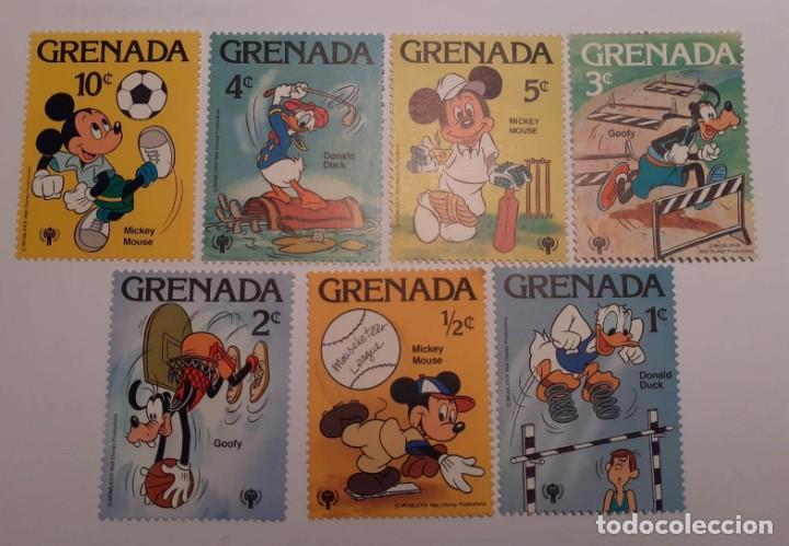 SELLOS MICKEY MOUSE, GOOFY Y DONALD. DISNEY. ISLA DE GRANADA (Sellos - Temáticas - Infantil)