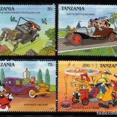 Sellos: TANZANIA 520/23** - AÑO 1990 - PERSONAJES DE DISNEY - AUTOMOVILES. Lote 205033690