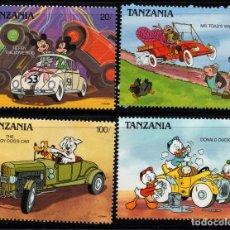 Sellos: TANZANIA 524/27** - AÑO 1990 - PERSONAJES DE DISNEY - AUTOMOVILES. Lote 205033846