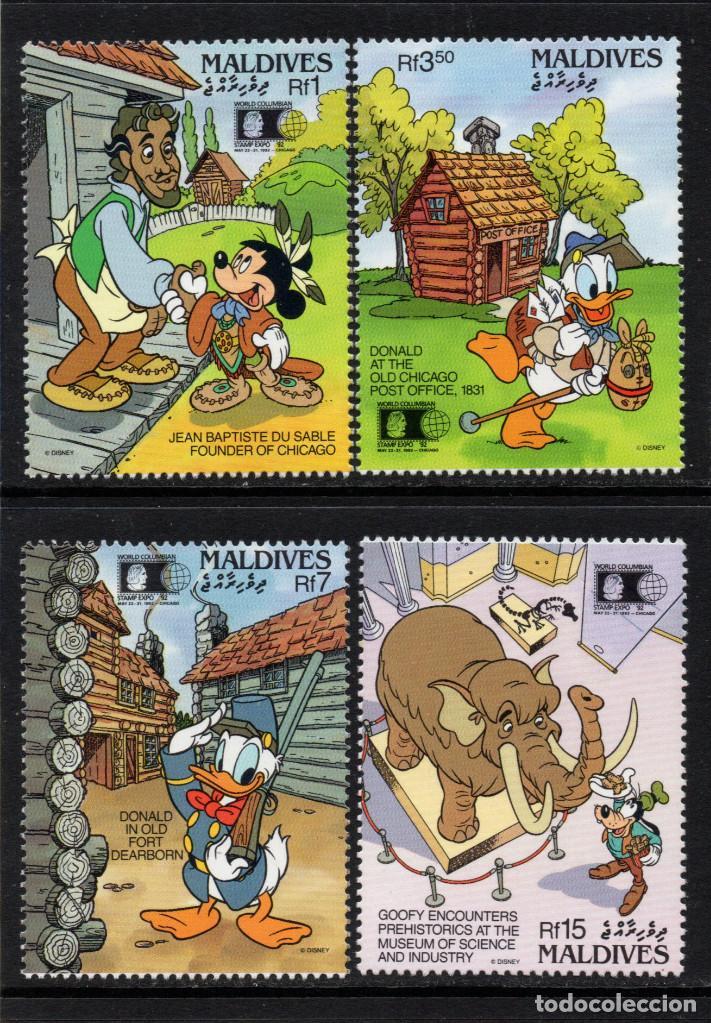 MALDIVAS 1471/74** - AÑO 1992 - PERSONAJES DE DISNEY - WORLD COLUMBIAN STAMP EXPO (Sellos - Temáticas - Infantil)
